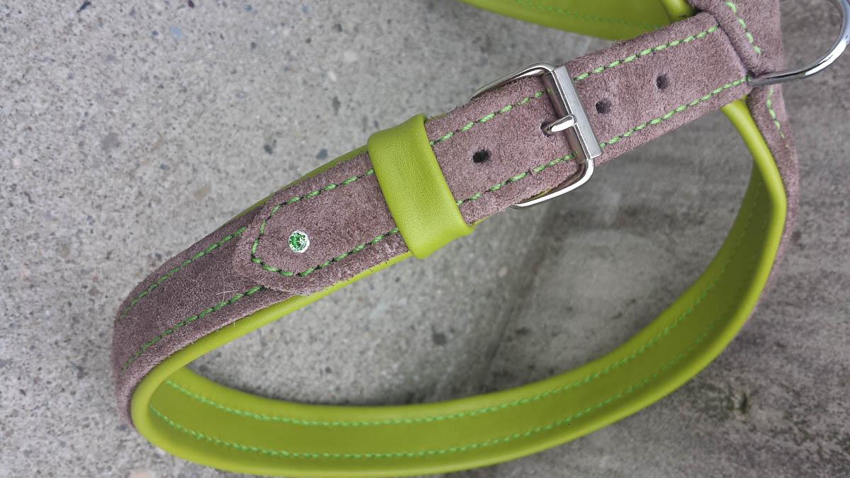 Hundegstältli aus Leder, grün-grau