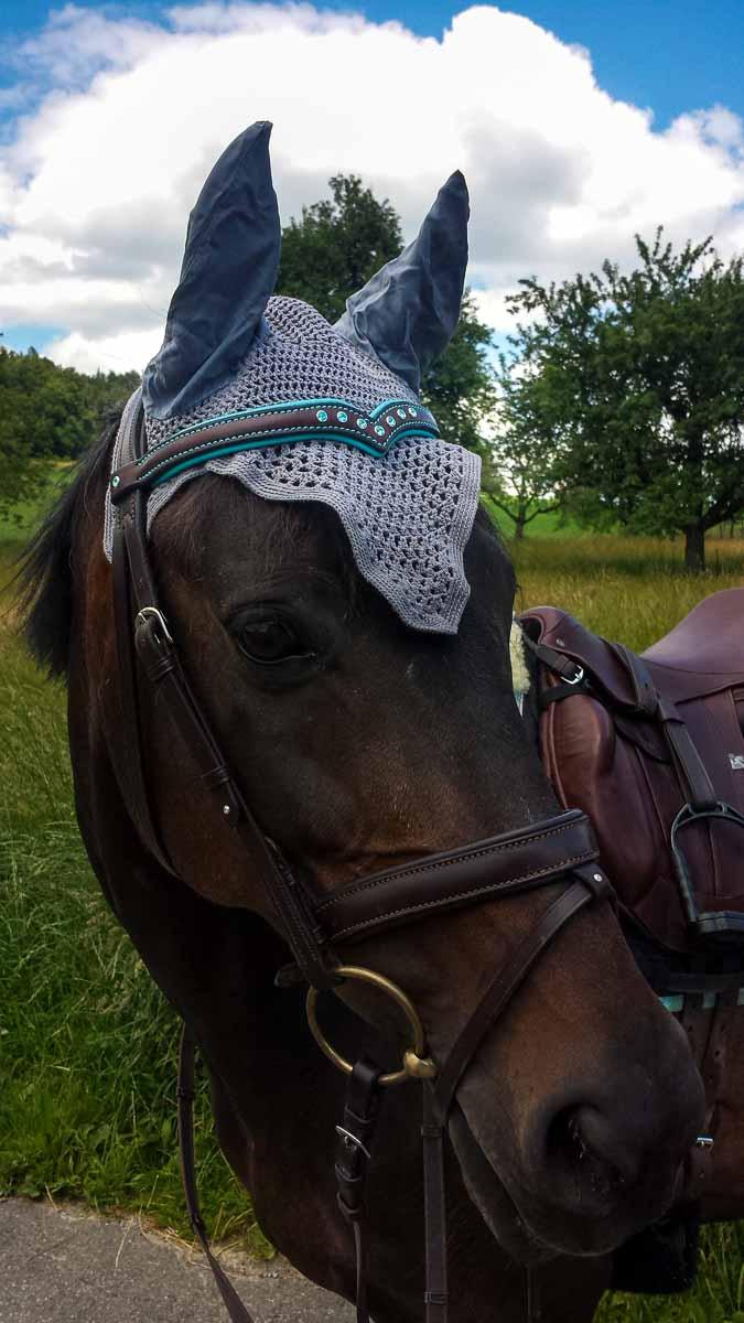 Pferd mit Stirnband Sattleria, Swarovski Light Turqoise