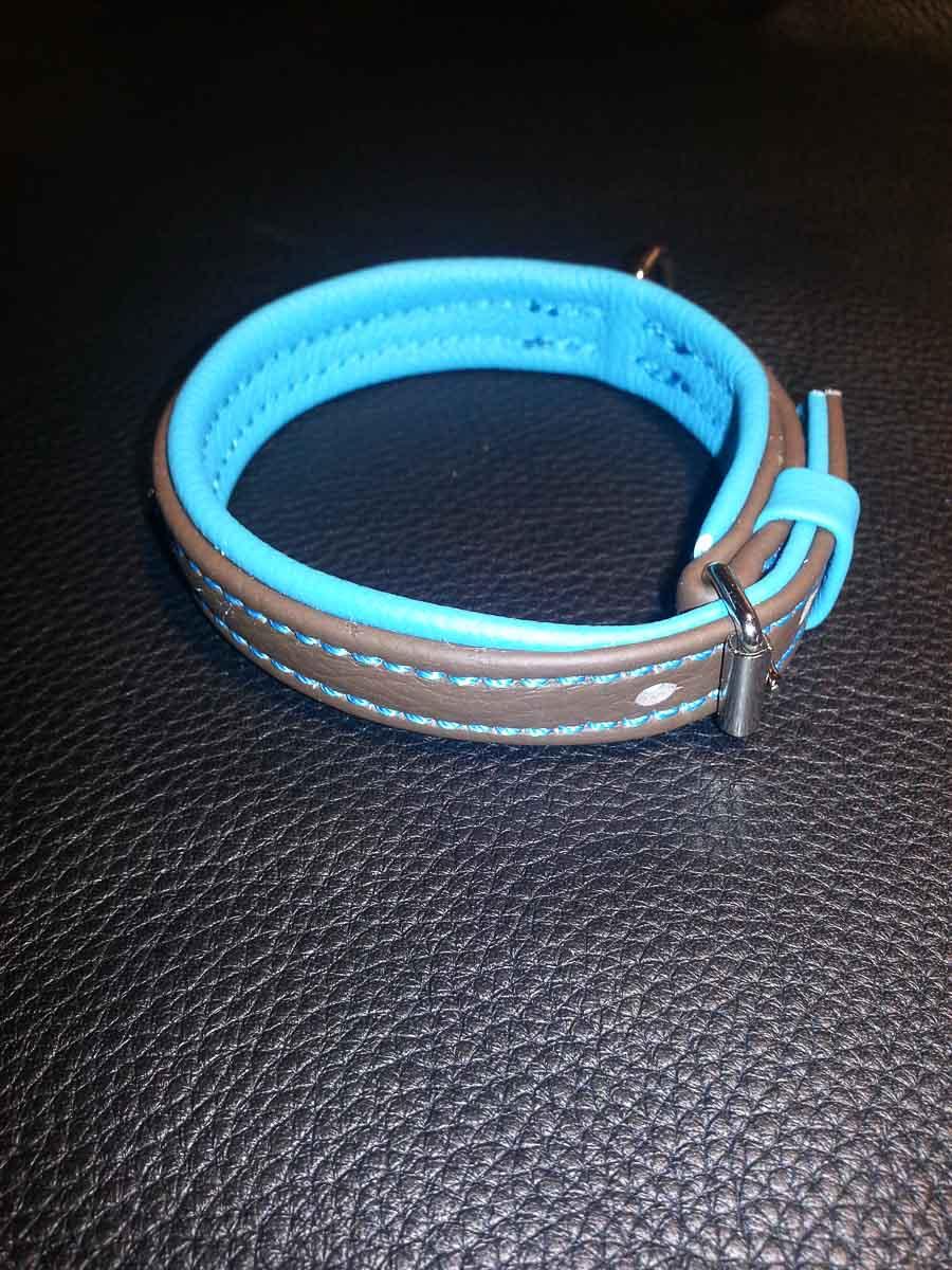 Hundehalsband aus Leder, türkis-grau