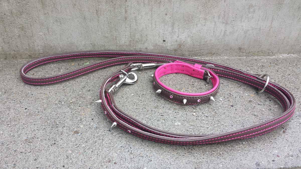 Set Halsband und Leine aus Leder, caffè-pink