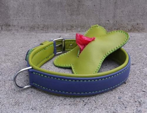 Halsband und RobiBag, violett-grün