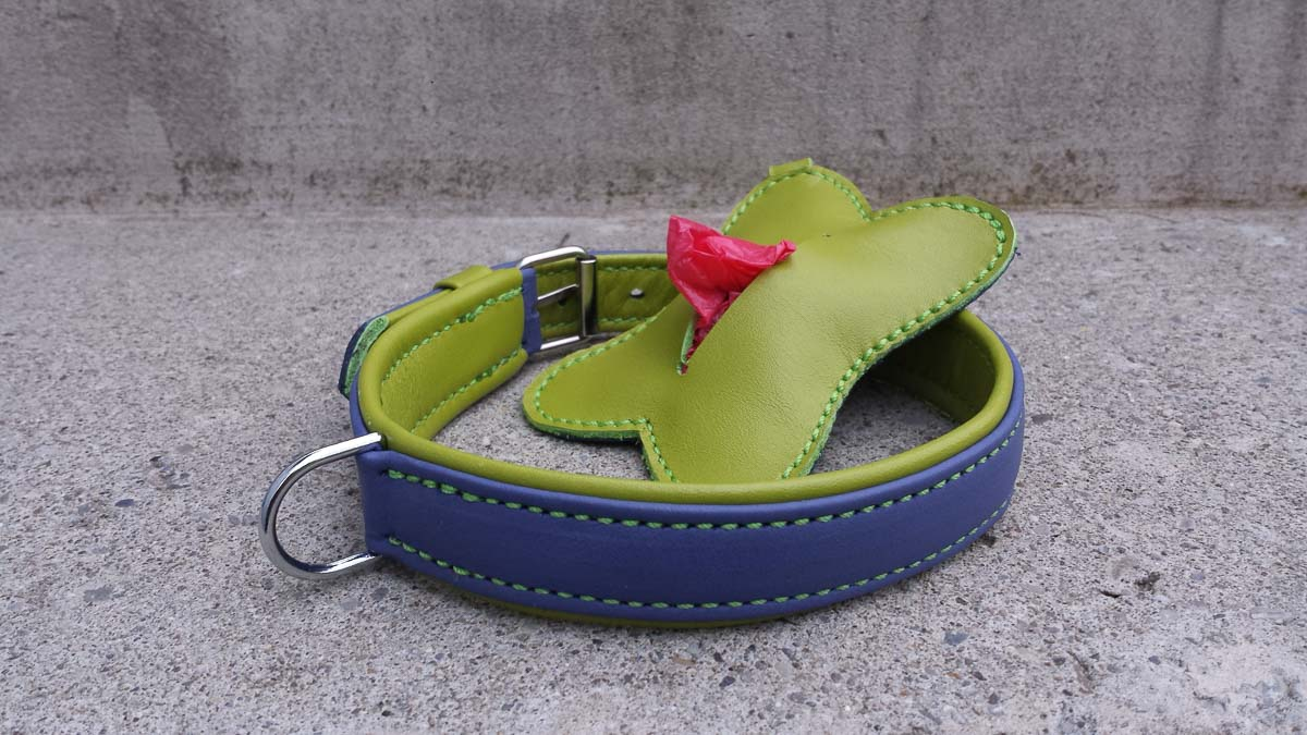 Hundehalsband und RobiBag aus Leder, violett-grün