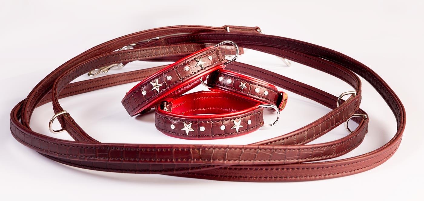 Halsband und Leine Set Kokobraun-Flame