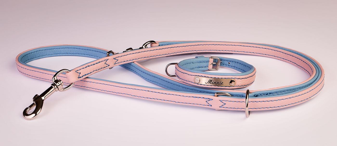 Hundehalsband und Leine Set Rosa/Hellblau mit Gravur